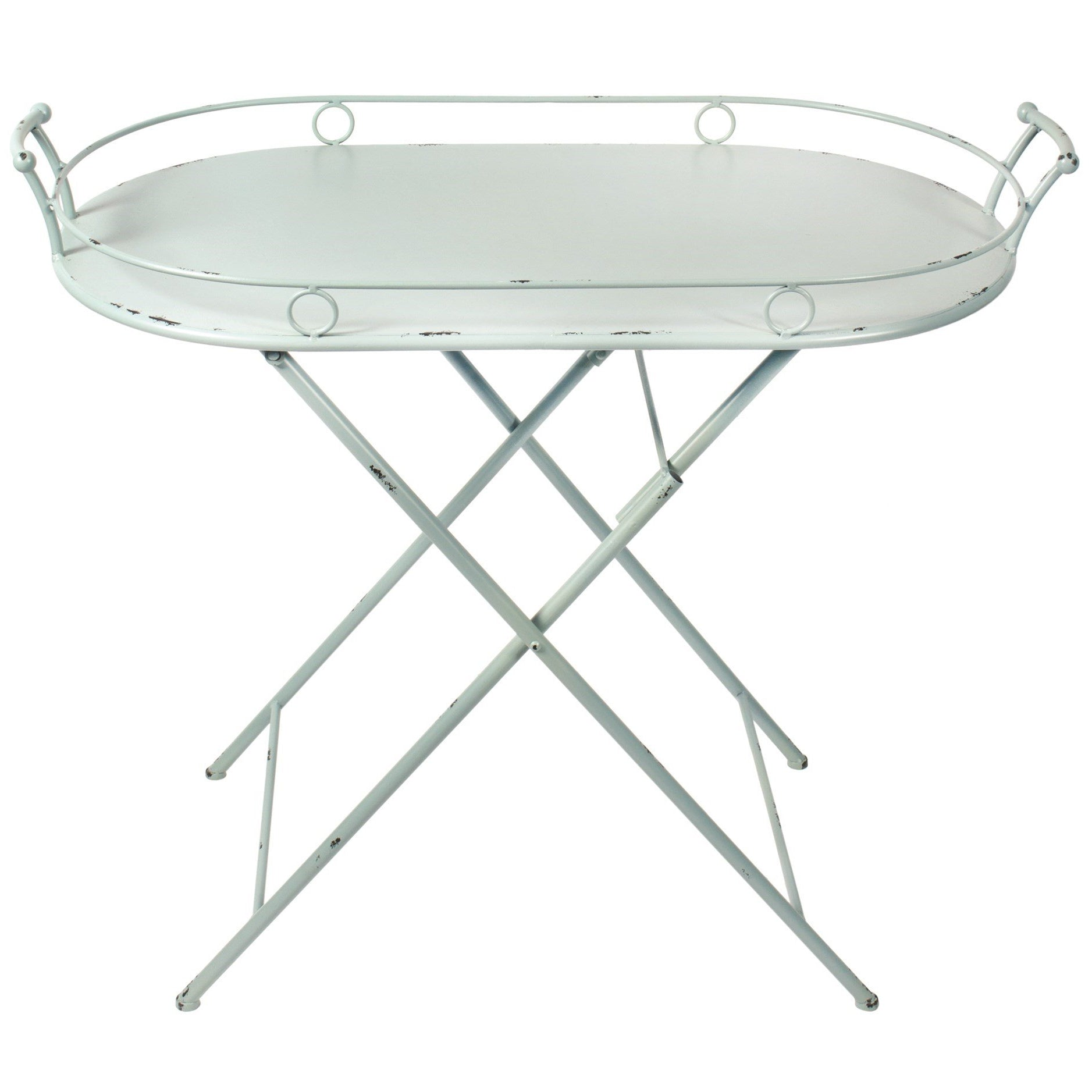Blue Oval Folding Table