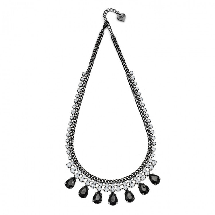 Lovett & Co. Black and Crystal Teardrop Stone Necklace, L&C-Lovett & Co., Putti Fine Furnishings