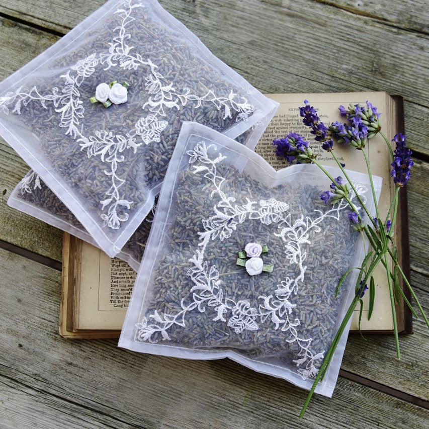 Voile Embroidered Lavender Sachet -  Sachet - Powell Craft Uk - Putti Fine Furnishings Toronto Canada - 2
