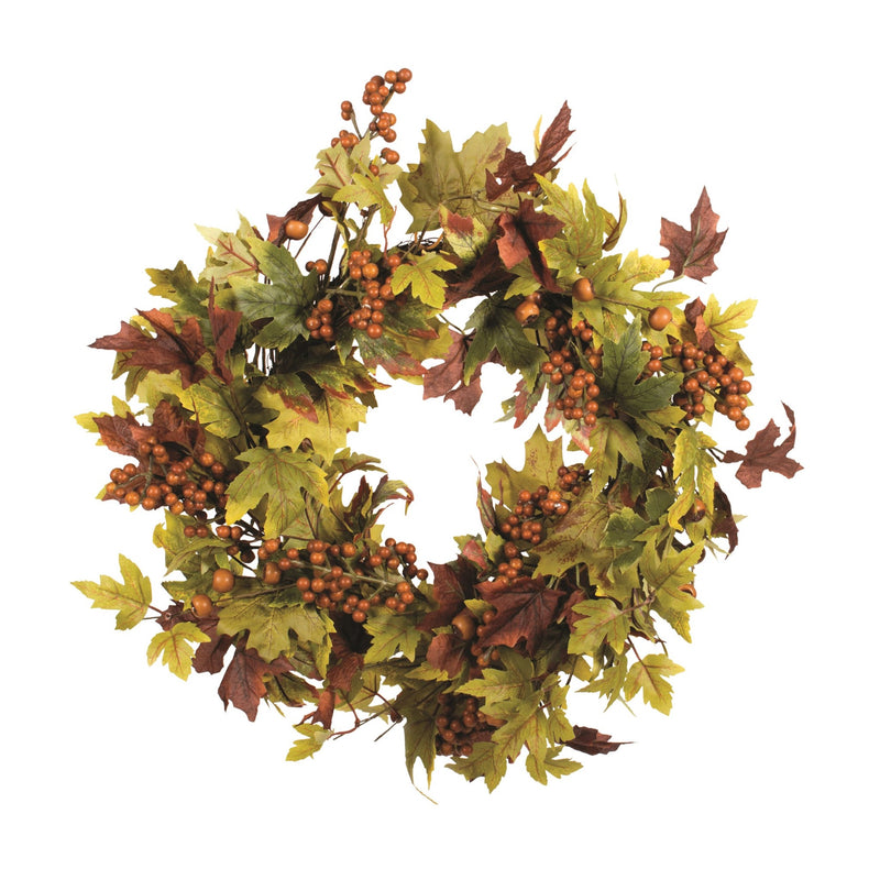 Maple Leaf Wreath with Burgundy Berries | Putti Fine Furnishings
