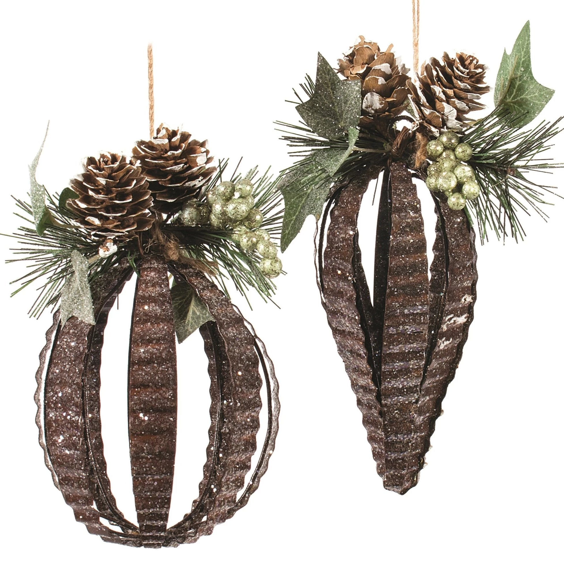 Tin Ornaments with Pinecones | putti Christmas Decorations