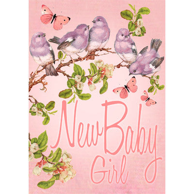 """New Baby Girl"" Pink Blossom Greeting Card"
