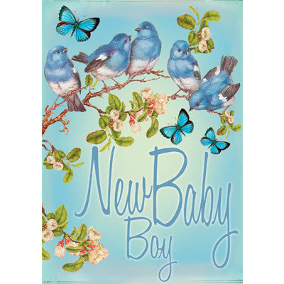 """New Baby Boy"" Blossom Greeting Card"