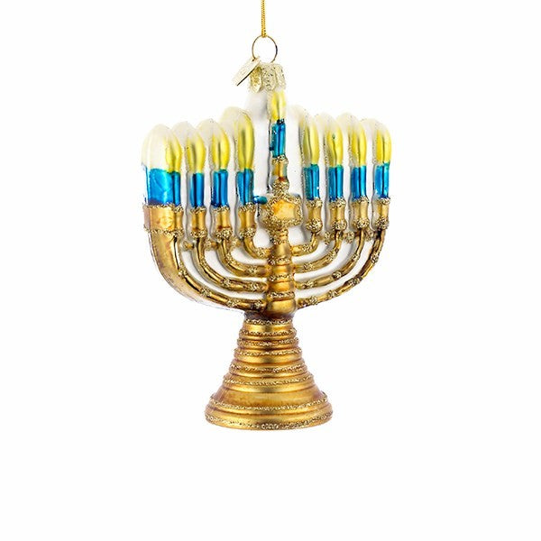 Kurt Adler Hanukkah Menorah Glass Ornament | Putti Celebrations