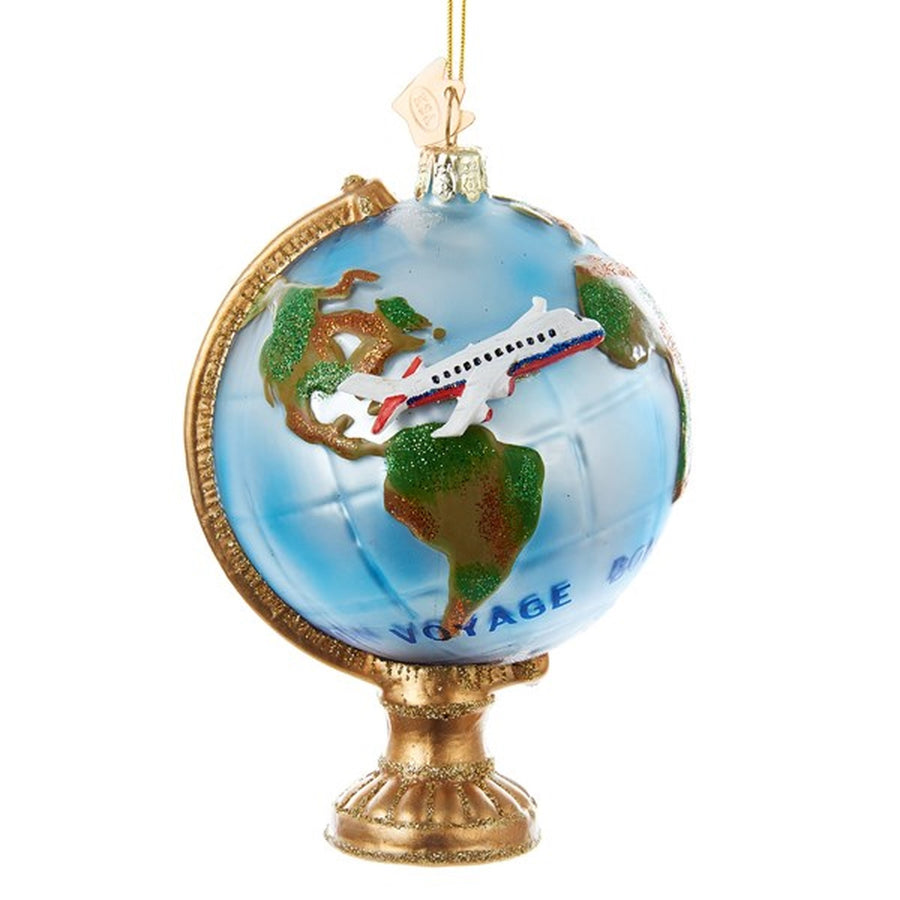 Kurt Adler Globe With Airplane Glass Ornament