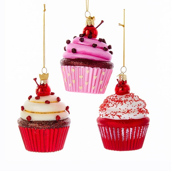 Kurt Adler Cupcake Glass Ornaments | Putti Christmas Canada