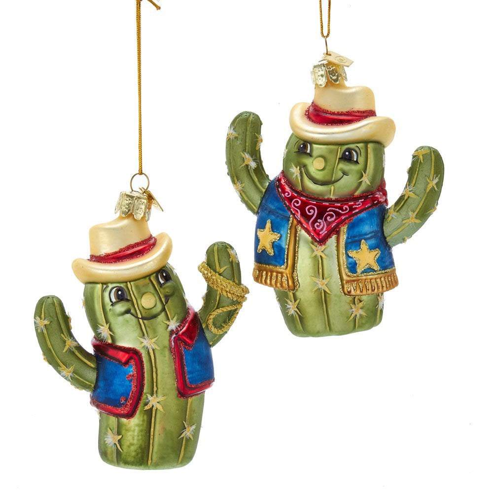 Kurt Adler Cactus Cowboy Glass Ornament