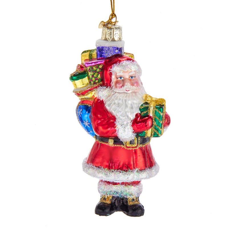 Kurt Adler Santa with Presents Glass Ornaments  | Putti Christmas Canada