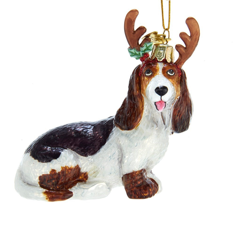 Kurt Adler Basset Hound with Antlers Glass Ornament | Putti Christmas