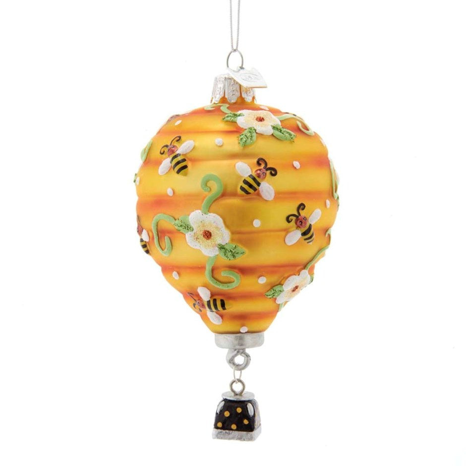 Kurt Adler Hot Air Balloon with Bees Glass Ornament | Putti Christmas
