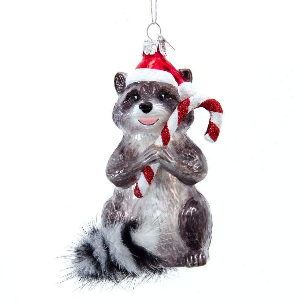 vKurt Adler Raccoon with Candy Cane Glass Ornament | Putti Christmas Decorations