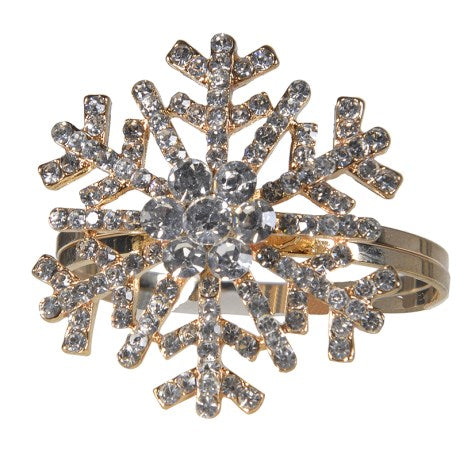 Gold Diamante Snowflake Napkin Rings, CH-Coach House, Putti Fine Furnishings