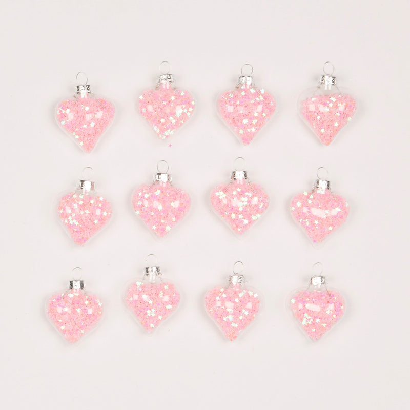Confetti Sequin Glass Hearts Ornaments Set of 12  | Putti Christmas Canada
