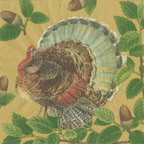 Turkey and Acorns Gold Paper Napkin - Cocktail | Putti Thanksgiving Celebrations