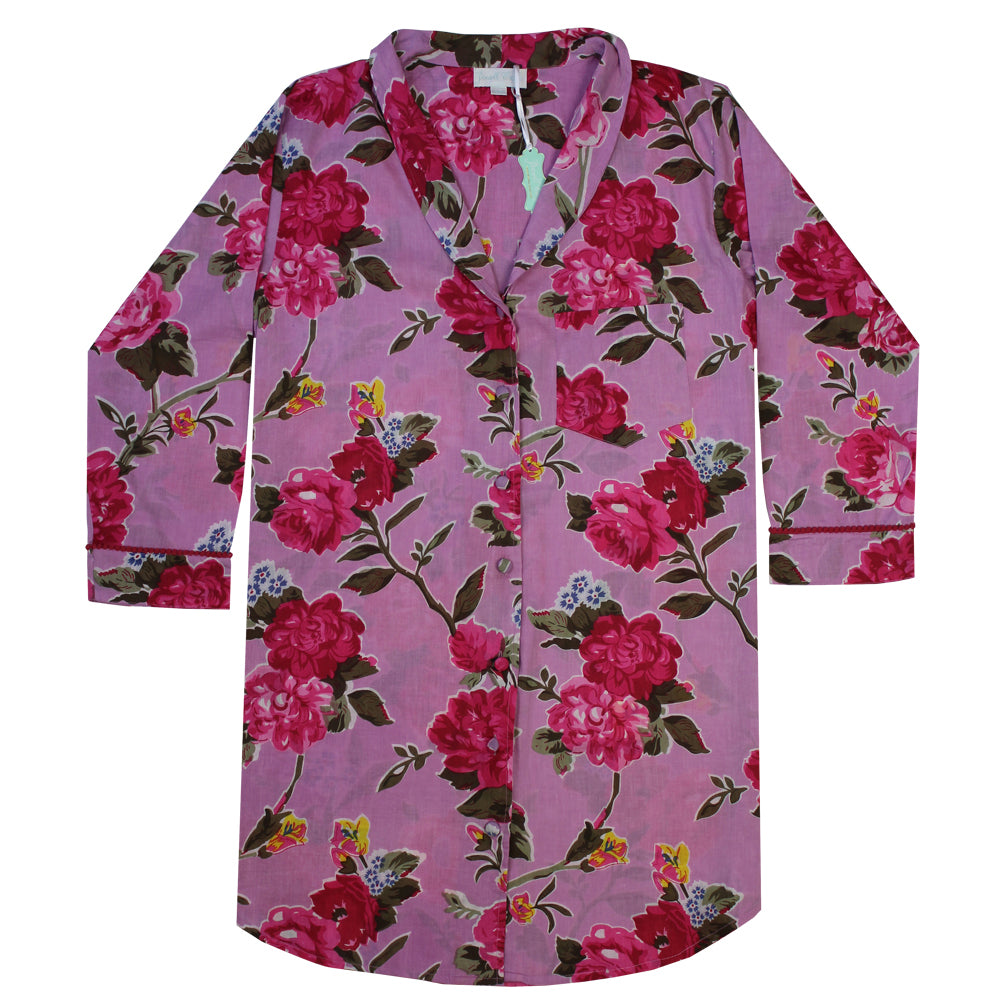"Powell Craft ""Lilac Rose"" Printed Cotton Ladies Nightshirt - Putti Canada"