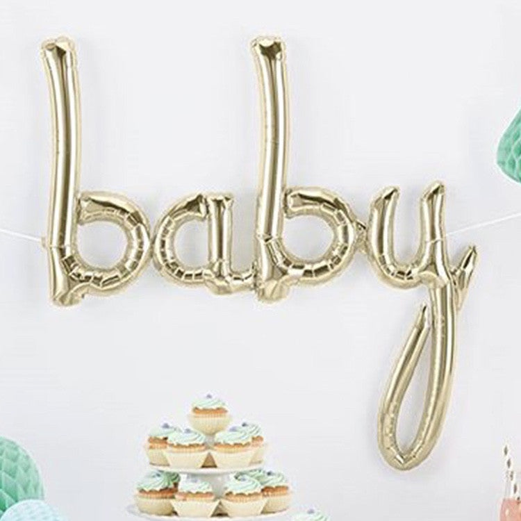 "White Gold Foil ""Baby"" Script Balloon"