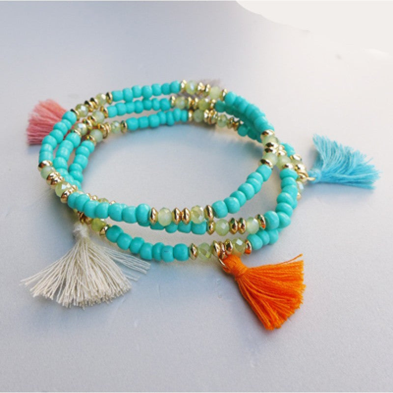 Belle & Flo Glass Three Layered Tassel Bracelet  -Turquoise