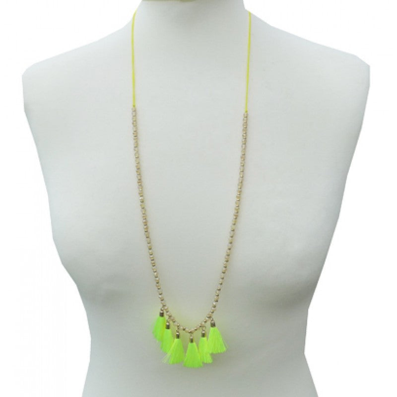 Belle & Flo Long Neon Tassel Necklace - Yellow, B&F-Belle & Flo UK, Putti Fine Furnishings