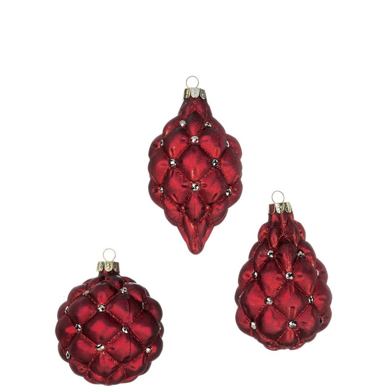 Red Quilted Glass Ornament | Putti Christmas Celebrations