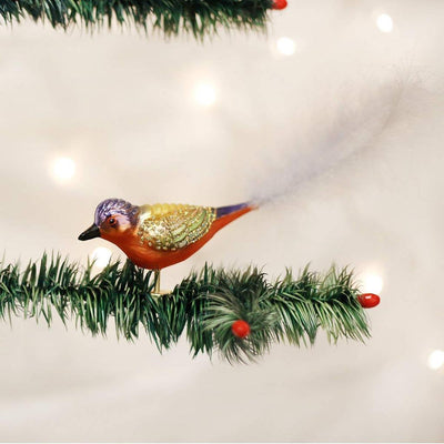 Old World Christmas Painted Bunting  Glass Bird Ornament