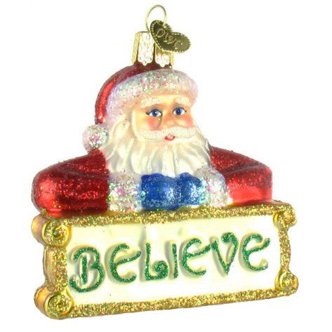 Old World Christmas Believe Santa Glass Christmas Ornament