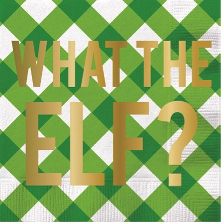 """What the Elf?"" Foil Paper Cocktail Napkin"