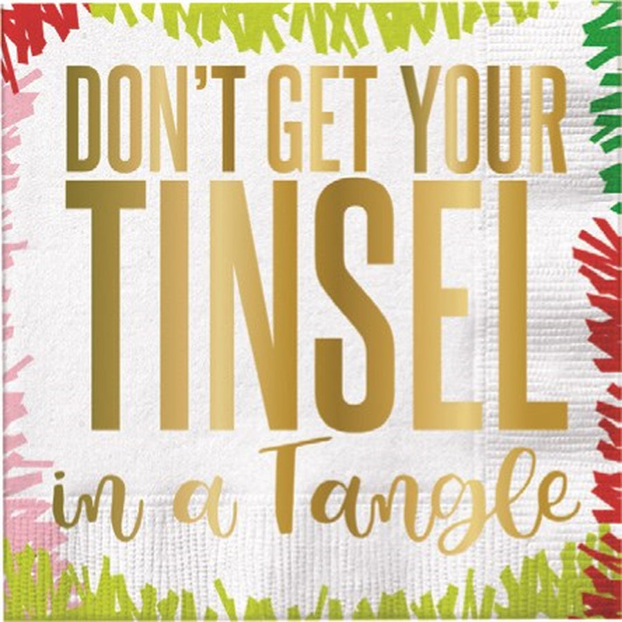 """Don't get your tinsel in a tangle"" Paper Cocktail Napkin"