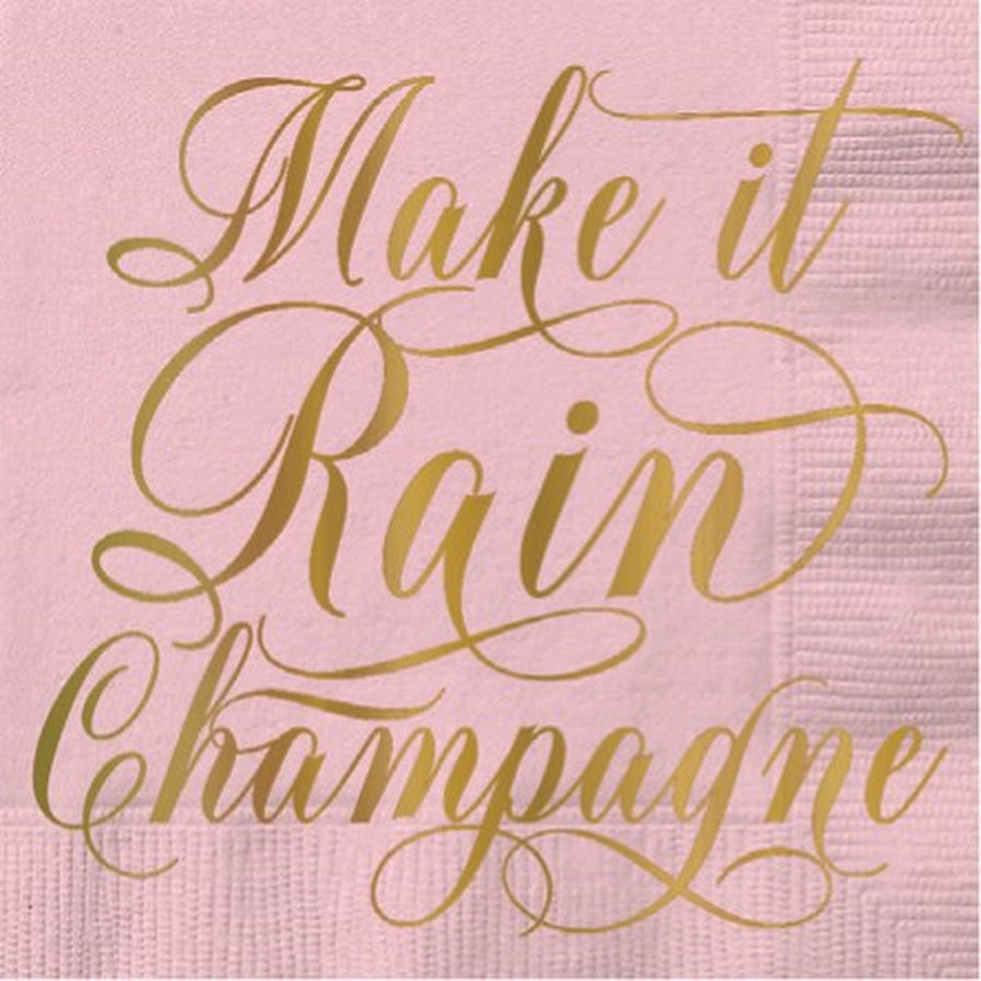 """Make it rain Champagne"" Foil Paper Cocktail Napkin"