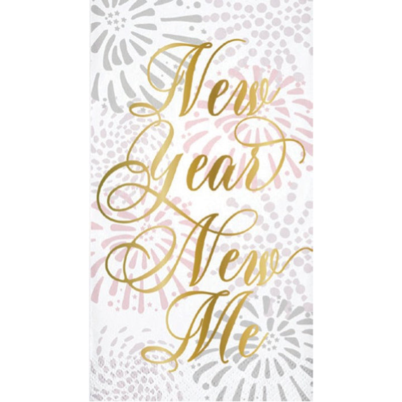 "Slant ""New Year New Me"" Gold Foil Paper Guest Towel"