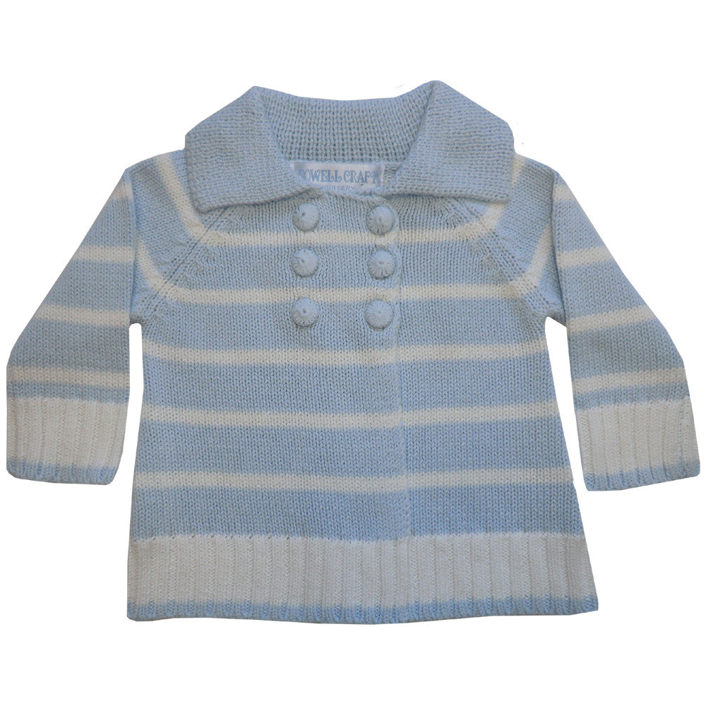 Blue and White Striped Pram Coat, PC-Powell Craft Uk, Putti Fine Furnishings