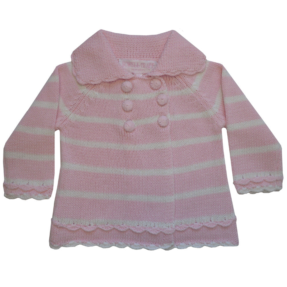 Pink and White Striped Pram Coat - 0 to 6 months (Special Order 2 weeks) Children's Clothing - Powell Craft Uk - Putti Fine Furnishings Toronto Canada