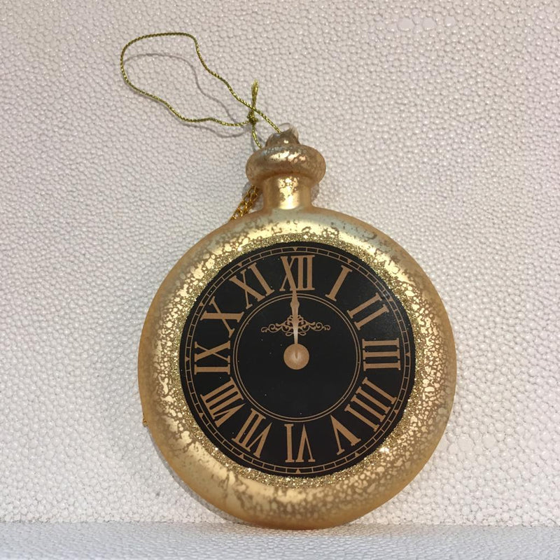 Black and Gold Glass Pocket Watch  Ornament