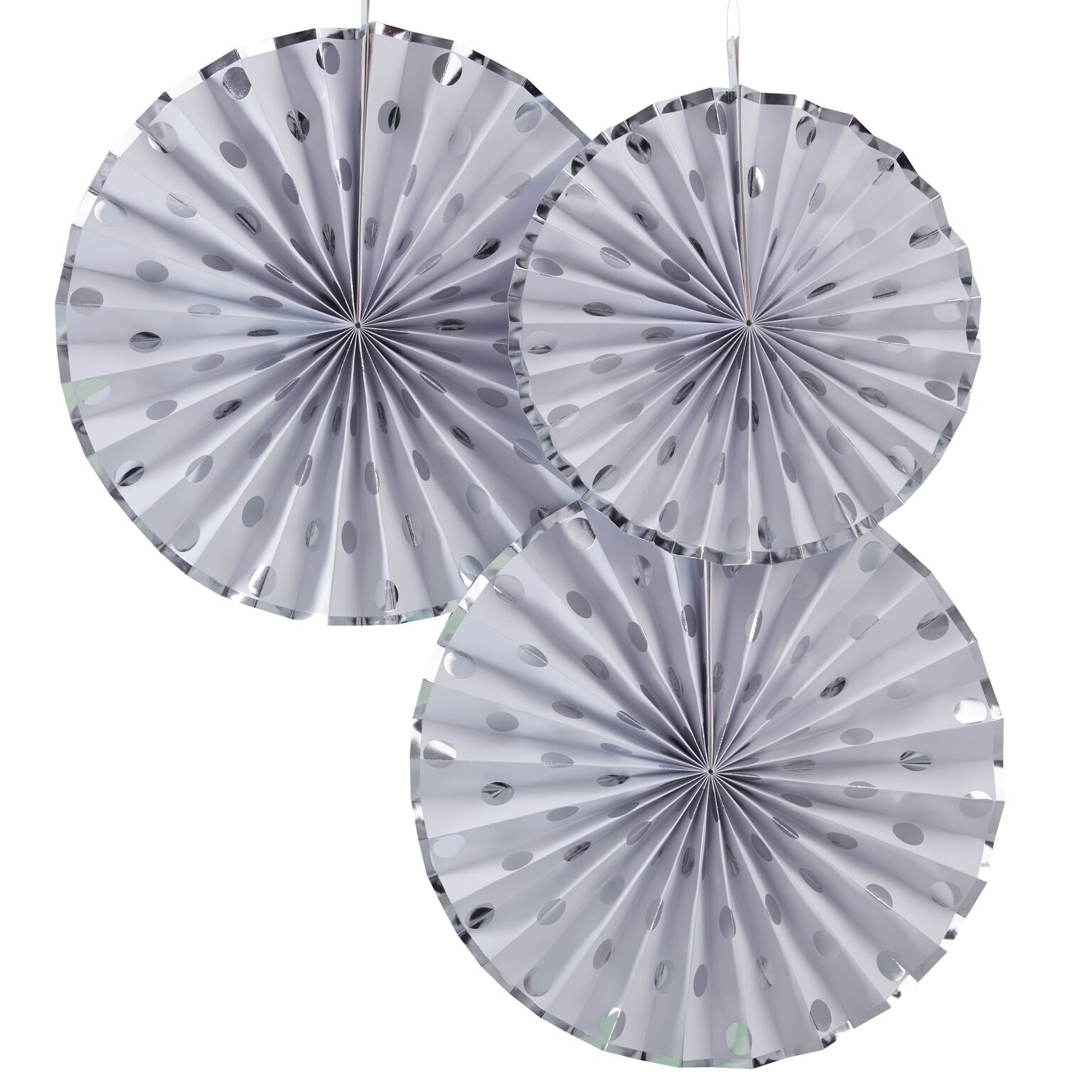 Polka Dot Paper Fan Decoration - Silver Foil