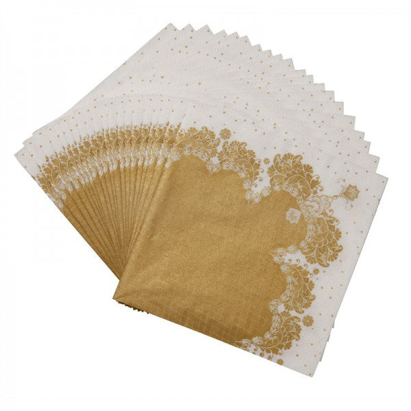 Party Porcelain Gold Lace Paper Luncheon Napkins -  Paper Napkins - Talking Tables - Putti Fine Furnishings Toronto Canada - 3