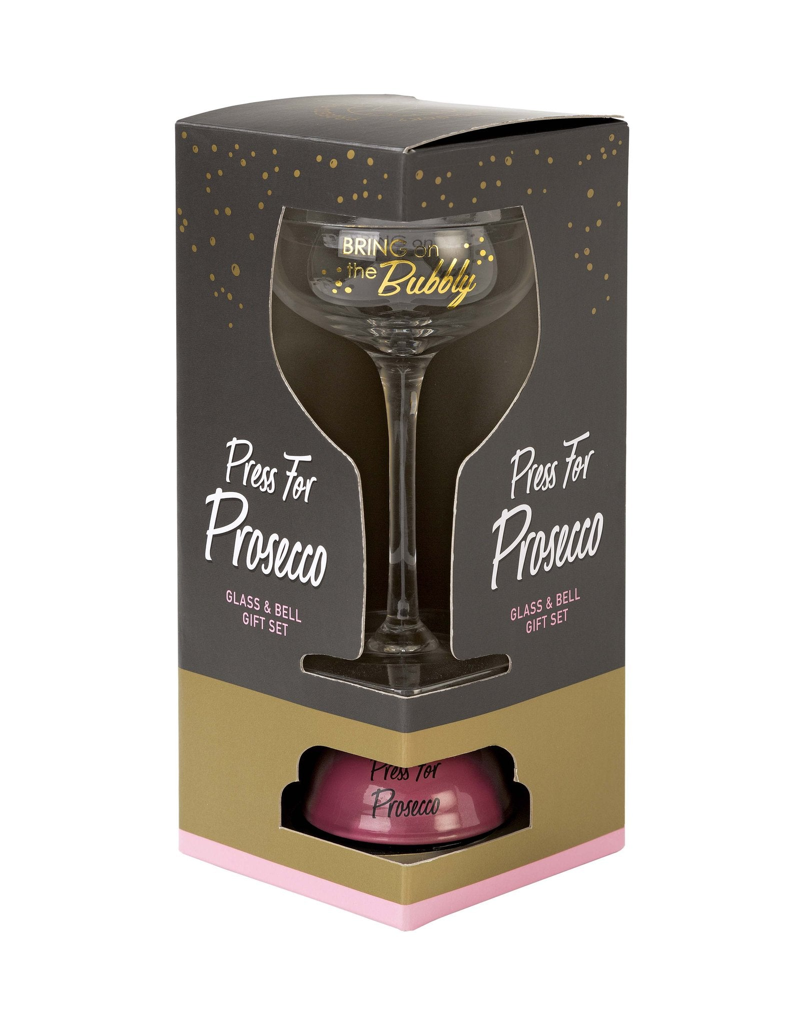 """Press For Prosecco"" Glass and Bell Set"