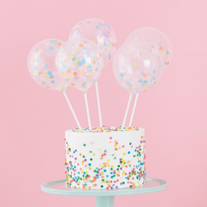 Pastel Confetti Balloon Cake Toppers