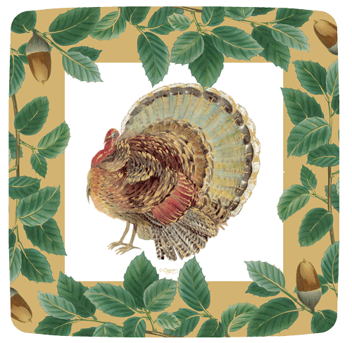Turkey and Acorns Gold Paper Plates Salad Dessert| Putti Thanksgiving Celebrations