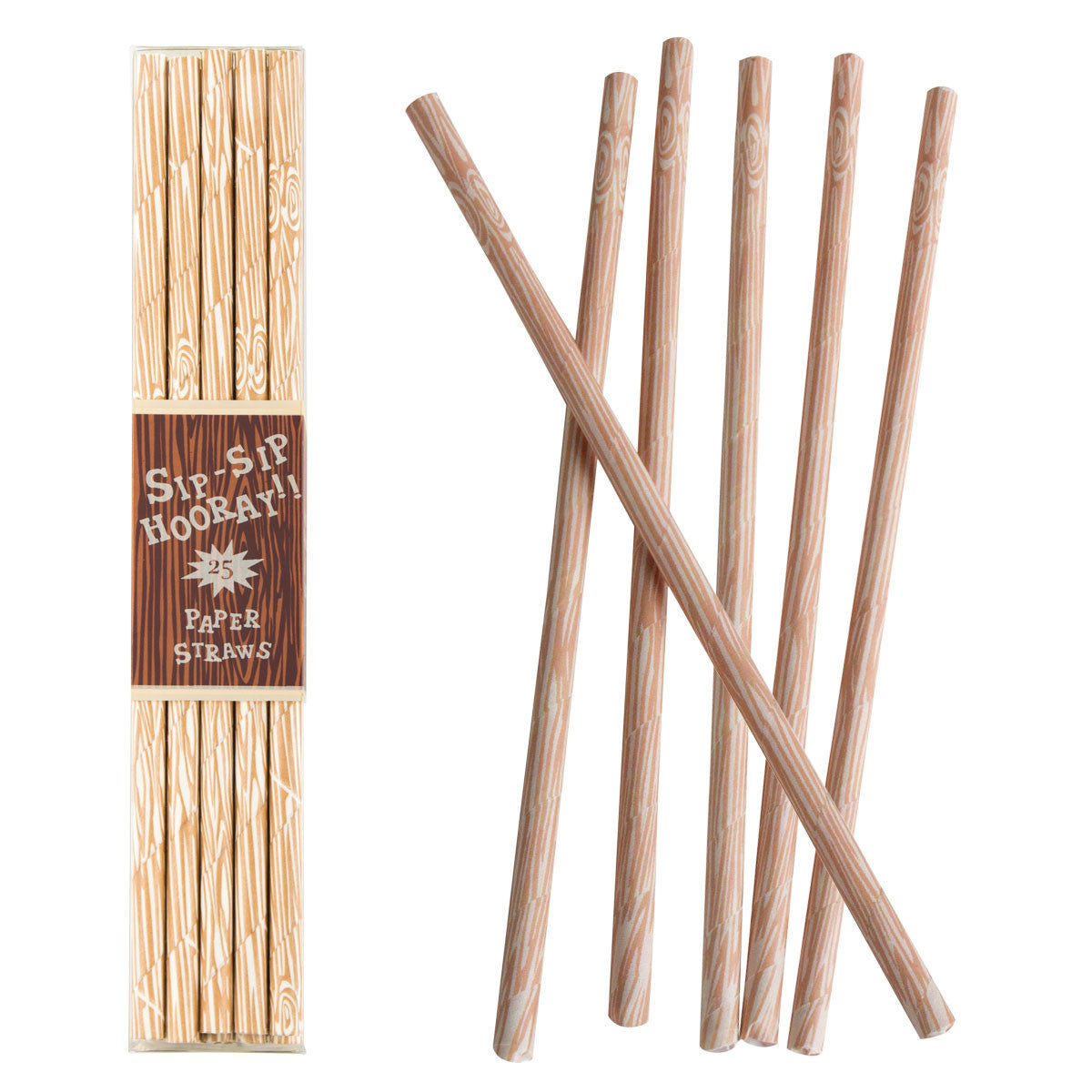 Woodgrain Paper Straws, PP-Party Partners - Estelle Gifts, Putti Fine Furnishings