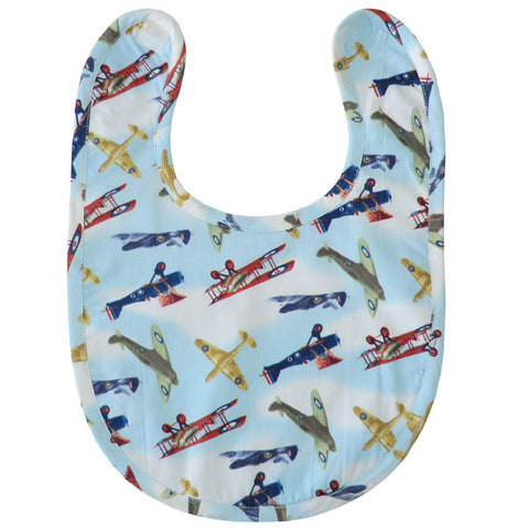 Vintage Aeroplane Bib -  Children's Clothing - Powell Craft Uk - Putti Fine Furnishings Toronto Canada