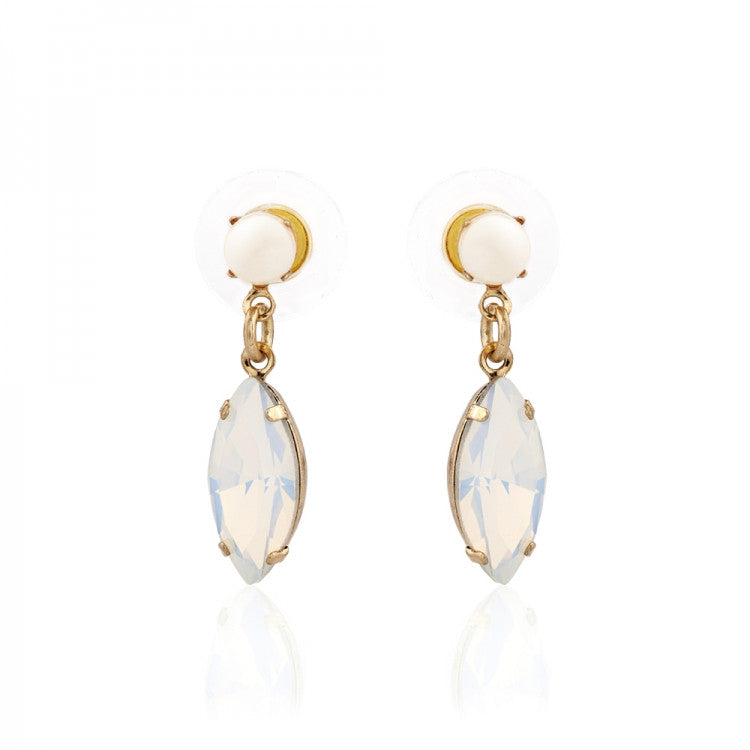 Lovett & Co. Pearl Navette Drop Earring  - White Opal