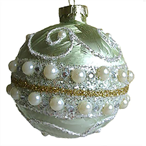 Celadon Green Glass Round Ornament | Putti Christmas Decorations