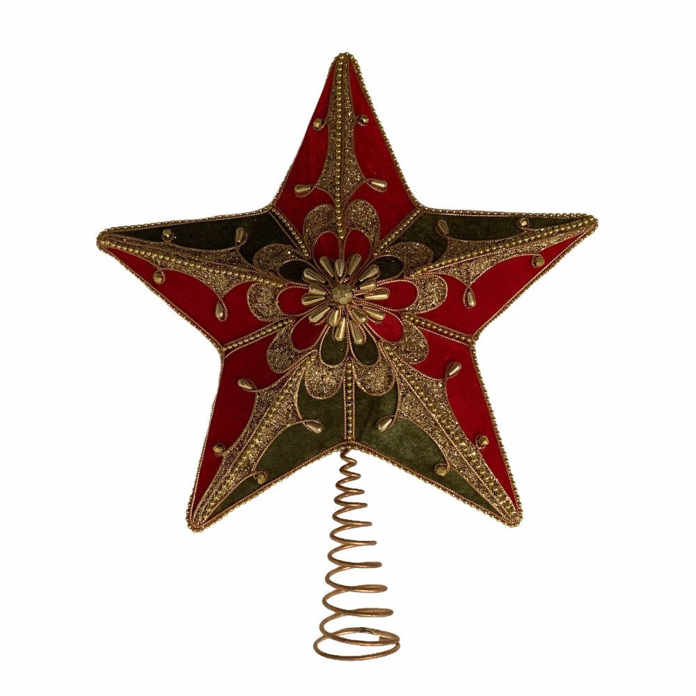 Kurt Adler Red and Green Star Tree Topper