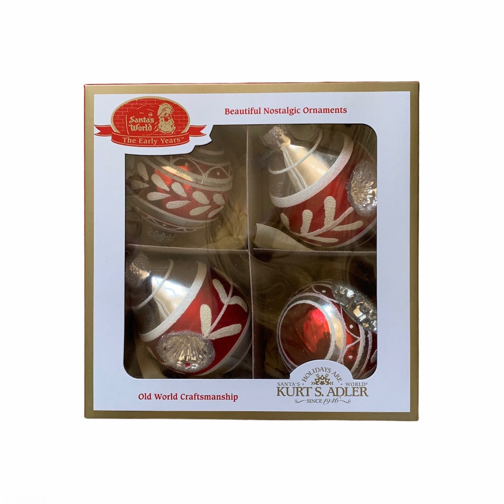 Early Years Glass Reflector Double Point Ornaments, 4-Piece Box Set