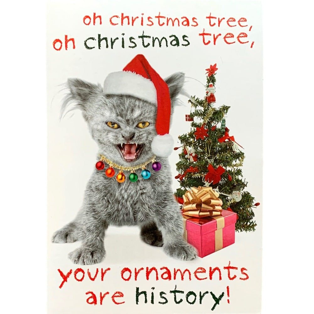 """Oh Christmas Tree ...."" Cat Christmas Card"