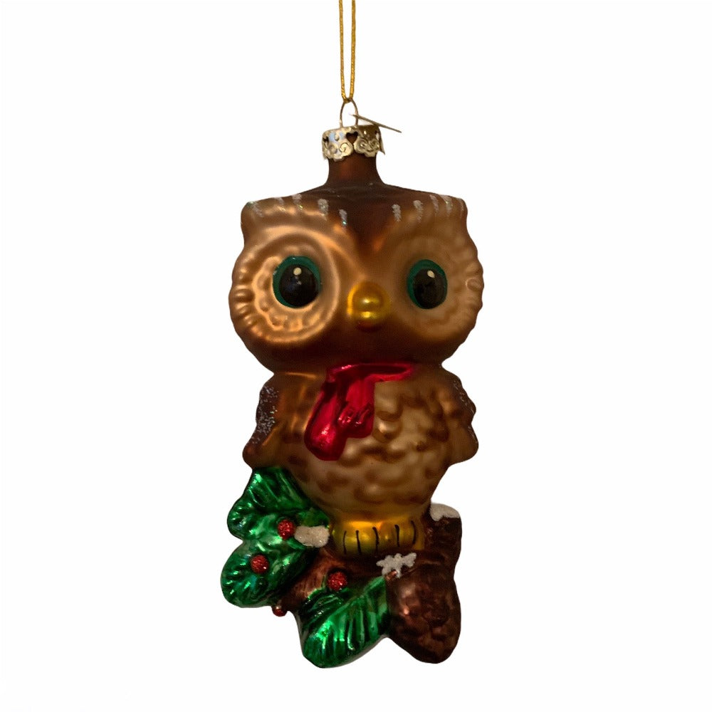Kurt Adler Owl with Holly Glass Ornament