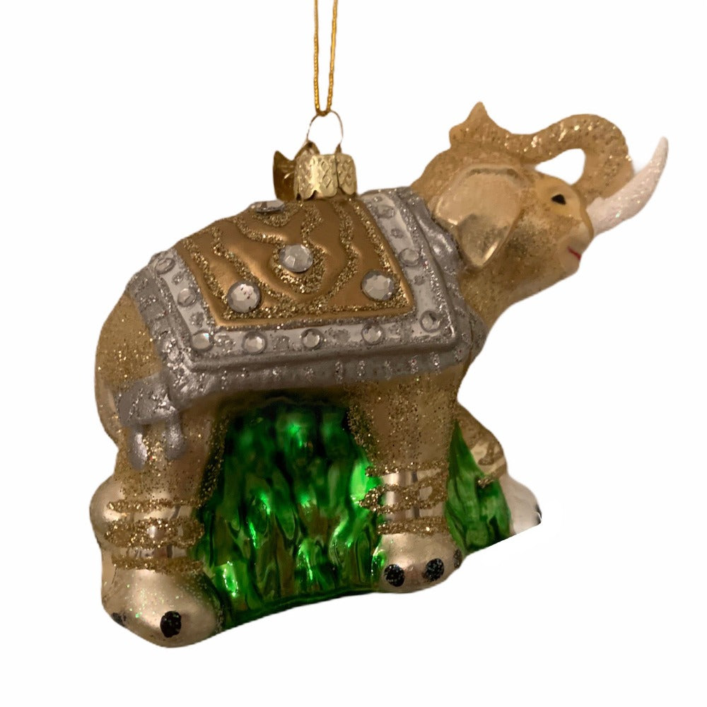 Kurt Adler Gold and Silver Elephant Glass Ornament