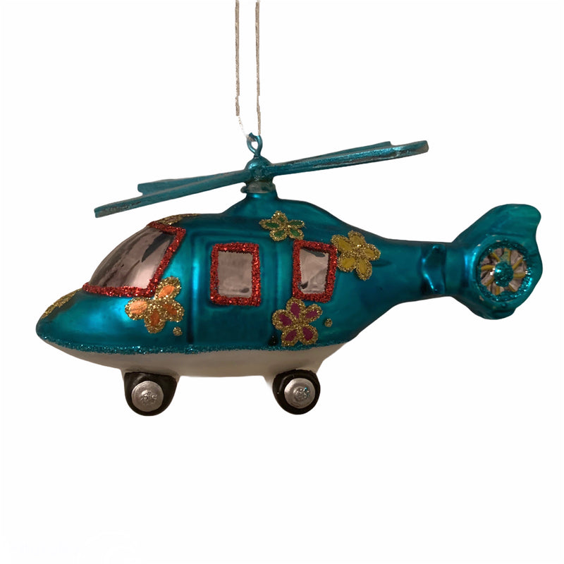 Kurt Adler Blue Helicopter Glass Ornament