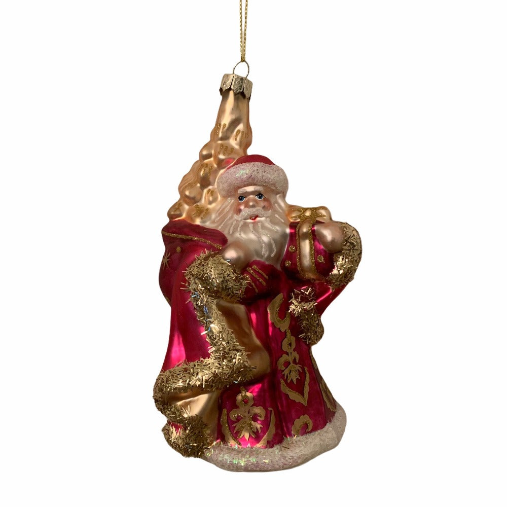 Kurt Adler Raspberry Santa Glass Ornament