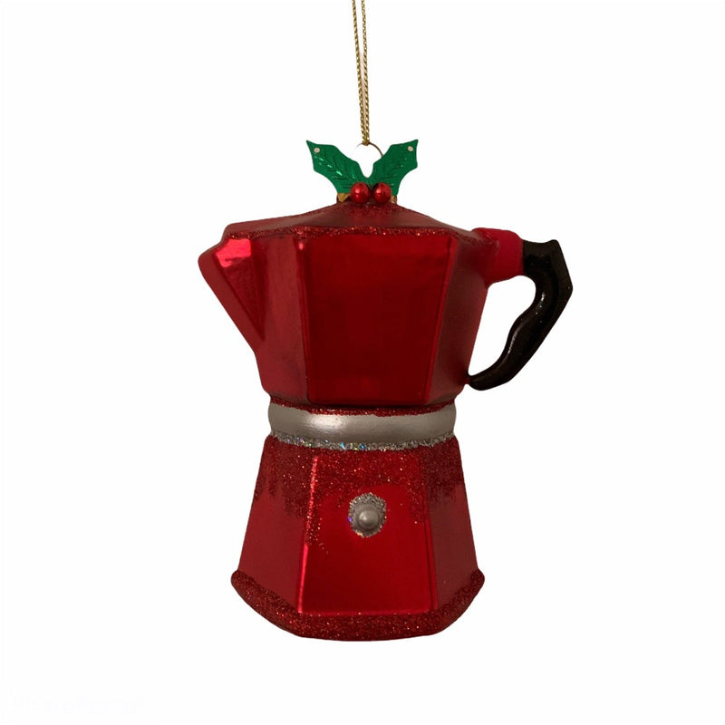 Kurt Adler Red Coffee Percolator Glass Ornament
