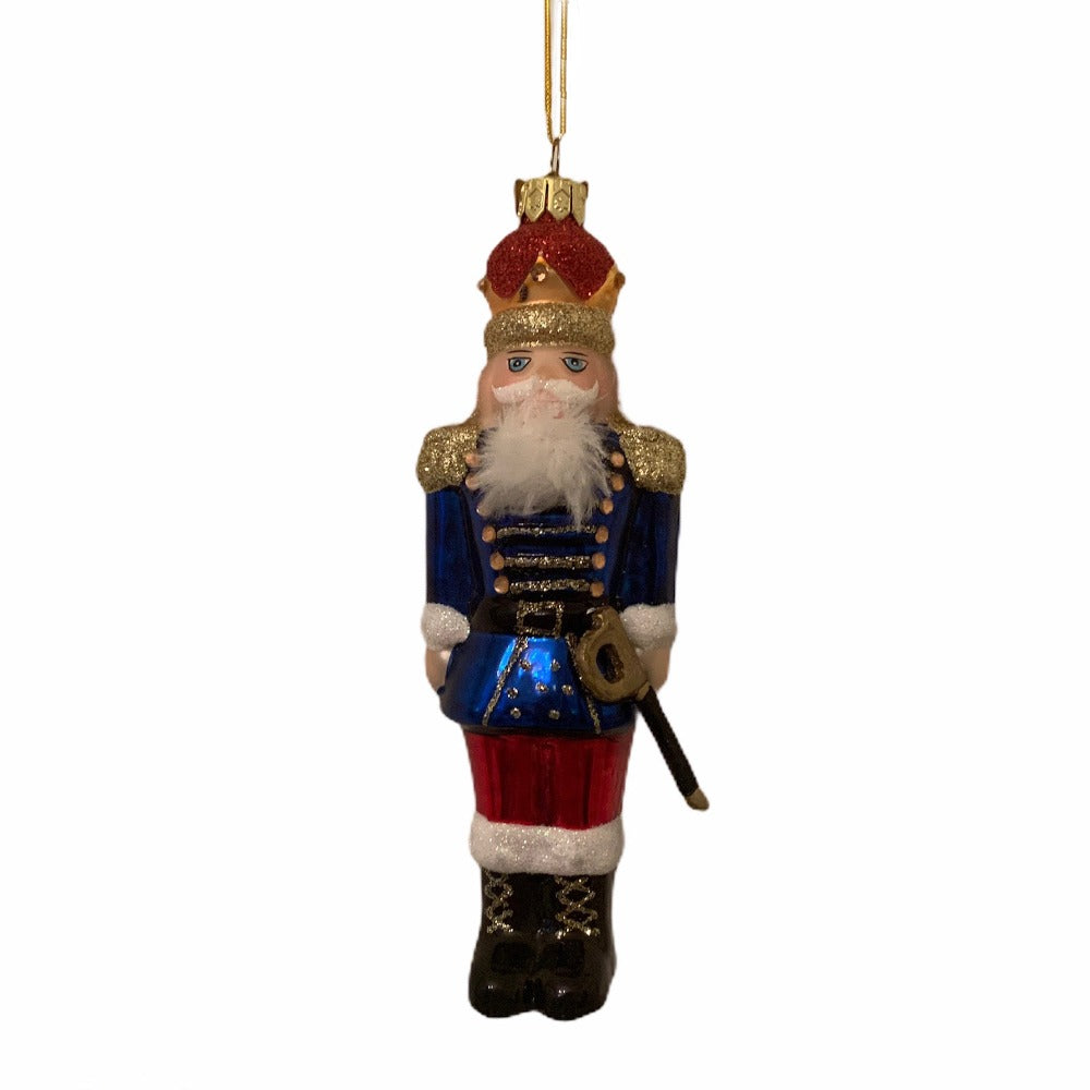 Kurt Adler Blue Nutcracker Glass Ornament